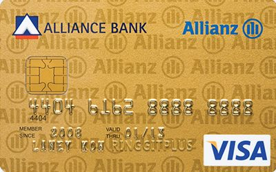 Alliance Bank Allianz Insurance Visa Gold credit card