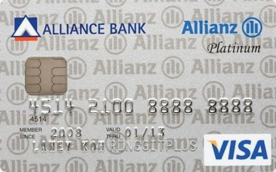 Alliance Bank Allianz Insurance Visa Platinum credit card