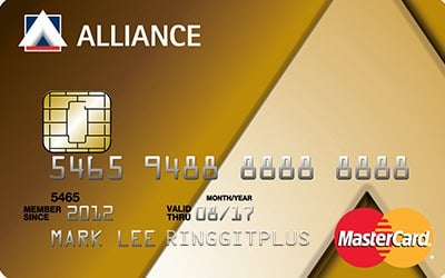 Alliance Bank MasterCard Gold credit card