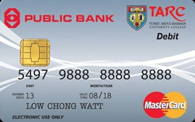 Public Bank TARC Debit MasterCard credit card