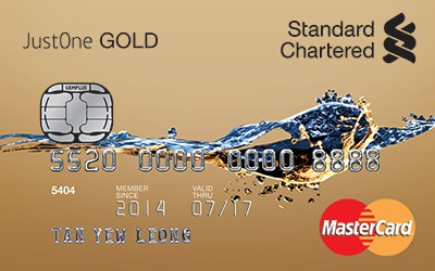 Standard Chartered JustOne Gold MasterCard credit card