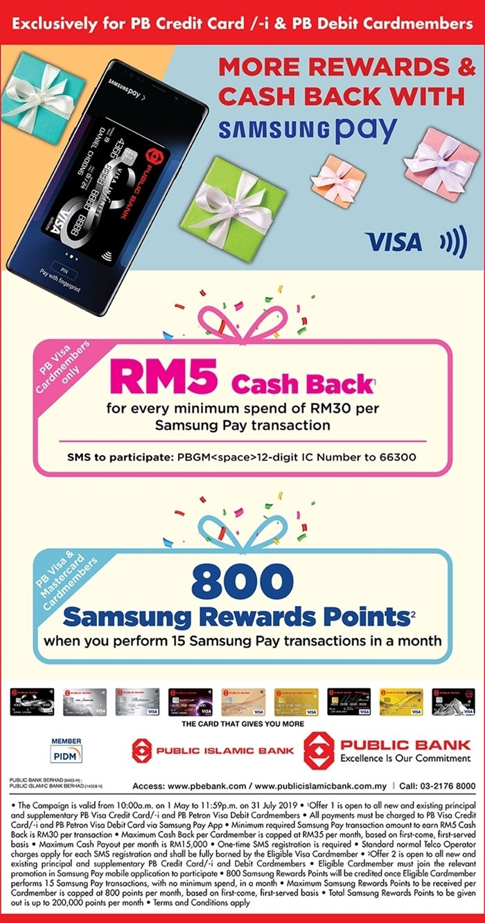 Get RM5 Cashback For Visa Contactless and Samsung Pay