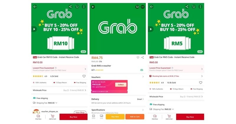 Save On Grab Rides With E-Vouchers From Shopee and Lazada